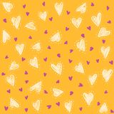 Seamless lovely pattern with hand drawing hearts. Vector colorful holiday background. Gift wrap, print, cloth, cute background for a card Royalty Free Illustration