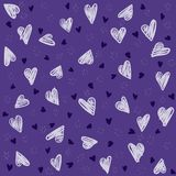 Seamless lovely pattern with hand drawing hearts. Vector purple holiday background. Gift wrap, print, cloth, cute background for a card Vector Illustration