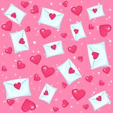 Seamless lovely pattern with hearts and letters. Vector holiday pink background. Valentine`s Day. Gift wrap, print, cloth, cute background for a card Vector Illustration