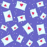 Seamless lovely pattern with hearts and letters. Vector holiday purple background. Valentine`s Day. Gift wrap, print, cloth, cute background for a card Vector Illustration