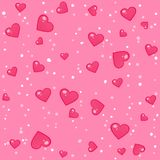 Seamless lovely pattern with hearts. Vector abstract holiday pink background. Valentine`s Day. Gift wrap, print, cloth, cute background for a card Vector Illustration