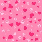 Seamless lovely pattern with small hearts and paw prints dog. Vector cute pets background. Gift wrap, print, cloth, cute background for a card Royalty Free Illustration