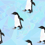 Seamless  low poly pattern with penguins on background Royalty Free Stock Images