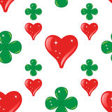 Seamless of lucky. Abstract seamless pattern made from hearts and clovers for background -  vector illustration. You can use it to fill your own background Stock Photos
