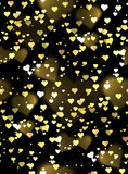 Seamless luxurious texture  with hearts and bokeh sparkles. Vector background for your creativity Stock Images