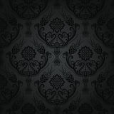 Seamless Luxury Black Floral Damask Wallpaper Stock Photos