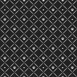 Seamless luxury cat paw pattern with crowns. Black and white print. Vector illustration. Stock Photo