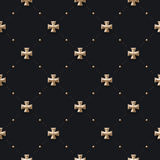 Seamless luxury dark black pattern and background with cross Royalty Free Stock Photo