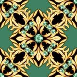 Seamless luxury pattern with emeralds stock illustration