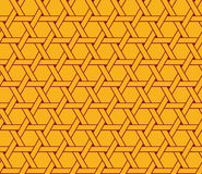 Seamless luxury vinous red and yellow hexagonal clockwise turning sun pattern vector Stock Photography
