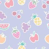 Seamless mönstra av frukttecknad film Fotografering för Bildbyråer