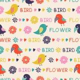 Seamless mönstra av fåglar och blommor Fotografering för Bildbyråer