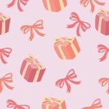 Seamless mönstra av gåvan boxas, och bandpilbågen mönstrar Royaltyfri Foto