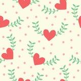 Seamless mönstra av hjärta formar med grön leafbakgrund Arkivbilder