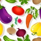 Seamless mönstra av ljusa grönsaker Arkivfoton