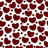 Seamless mönstra av röda hjärtor Arkivfoto