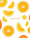 Seamless mönstra med apelsinen Tropiskt abstrakt begrepp Frukt på den vita bakgrunden Fotografering för Bildbyråer