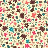 Seamless mönstra med blom- beståndsdelar Royaltyfri Fotografi
