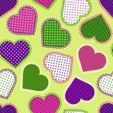 Seamless mönstra med färgrika hjärtor Arkivbilder