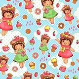 Den lyckliga sötsaken mönstrar stock illustrationer