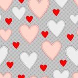 Seamless mönstra med hjärtor Arkivfoton