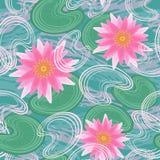 Seamless mönstra med näckrosor Arkivbilder
