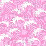 Seamless mönstra med rosa färg vinkar Arkivbild