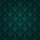 Seamless mörker - grön tappningwallpaperdesign Royaltyfri Fotografi