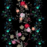 Seamless magic floral pattern with transparency bright flowers Stock Images