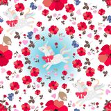 Seamless magic pattern with funny unicorns, red poppy flowers, blue butterflies and pink hearts on white background vector illustration