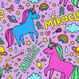 Seamless magic pattern with handdrawn unicorns and magic stuff. Miracle and magic creature. Stock Image