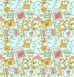 Seamless mail pattern. Cute doodle background with letters, camera, fruits, and other beautty elements. Seamless mail pattern. Cute doodle background with Royalty Free Stock Photos