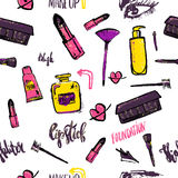 Seamless Makeup pattern. Glamorous makeup pattern with nail polish and lipstick. vector illustration