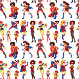 Seamless male and female superheroes Stock Photos