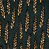 Seamless with Malt. Beer Pattern. Isolated on a Black Chalkboard Background. Realistic Doodle Cartoon Style Hand Drawn Stock Photo
