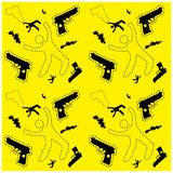 Seamless man silhouette and gun crime background pattern website Royalty Free Stock Photo