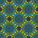 Seamless mandala pattern in moroccan arabic style. Kaleidoscope dark background blue and yellow Stock Photo