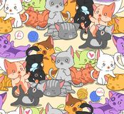 Seamless many little cute cats pattern. vector illustration