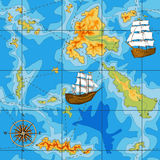 Seamless map with a compass and ships Royalty Free Stock Photos