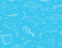 Seamless marine background. Seamless pattern with fish and marine life Royalty Free Stock Photography