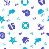Seamless marine pattern with beach items, vector background. Background of blue and turquoise beach drawing objects by hand. Seamless pattern. vector Royalty Free Stock Photo