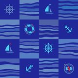 Seamless marine pattern, blue squares. Royalty Free Stock Images