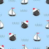 Seamless marine pattern with cat Sailor and ships. Stock Image
