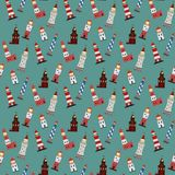 Seamless marine pattern with lighthouses. stock illustration