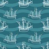 Seamless marine pattern with sailing ships. Stock Image