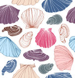 Seamless marine pattern with shells. Beautiful graphic background with seashells. Stock Image