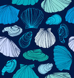 Seamless marine pattern with shells. Stock Photos