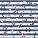 Seamless marine pattern Stock Photography