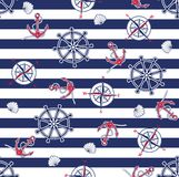 Seamless marine pattern. On striped background. Vector illustration Royalty Free Stock Images