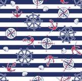 Seamless marine pattern stock illustration